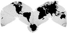 Cahill-Keyes M-layout world map silhouette including Antarctica