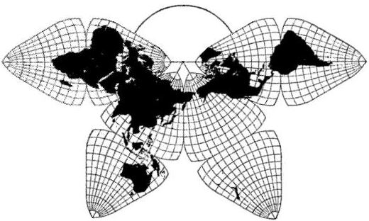 8 critique of fullers dymaxion map compared to bjs cahills cahill octahedral butterfly world map pacific layout gumiabroncs Gallery