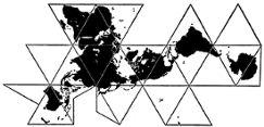 Fuller icosahedral map 1954
